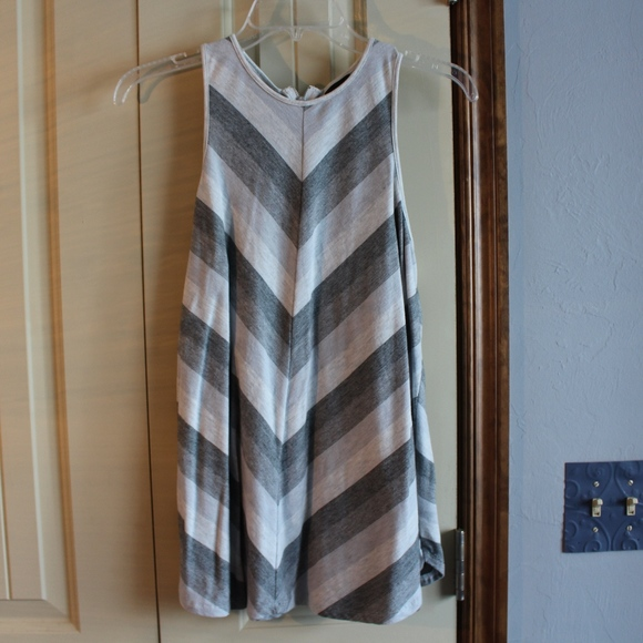 Mossimo Supply Co. Tops - GREY AND WHITE STRIPED TANK TOP